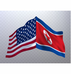 flags of usa and north korea vector image