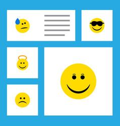 Flat icon emoji set of happy tears angel and vector