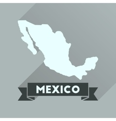 Flat icon with long shadow map mexico vector