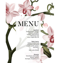 floral pink orchid menu wedding invitation card vector image