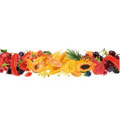 fruit and berries burst splash juice sweet vector image