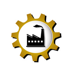 Gear silhouette with industry icon vector