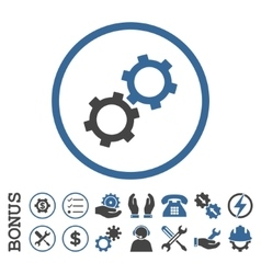 Gears Flat Rounded Icon With Bonus vector image