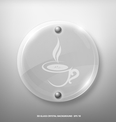 Glass crystal marking a cup coffee vector