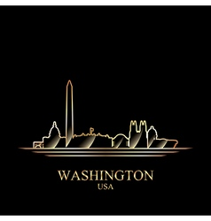 Gold silhouette of Washington on black background vector image