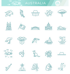 graphic set australian culture animals vector image