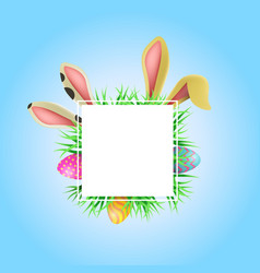 Happy easter card frame template with cute bunny vector