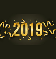 happy new year with 2019 golden shiny numbers vector image