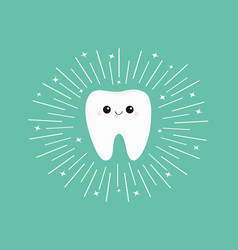 healthy white tooth icon with smiling face cute vector image