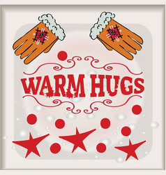 Hugs with great love lettering banner vector