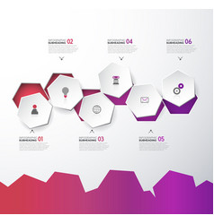Infographic template with six hexagons and icons vector