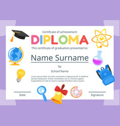 kids diploma certificate for preschool vector image