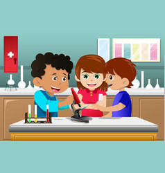 kids learning science in a lab vector image