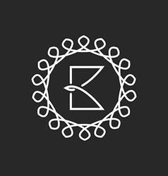 Letter B logo line frame monogram elegant black vector