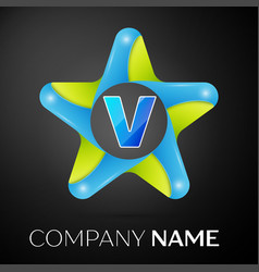 Letter v logo symbol in the colorful star on black vector