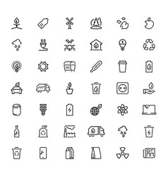 line icons sign collection green nature and eco vector image