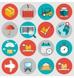 Logistic flat icons set vector