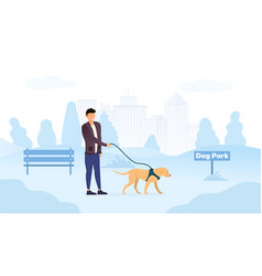 Male owner walking his dog in park vector