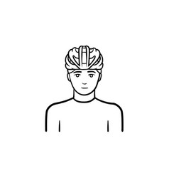 Man in bicycle helmet hand drawn outline doodle vector