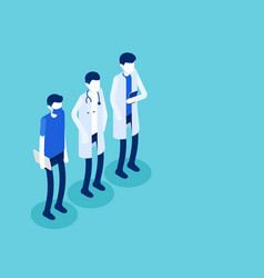 medical staff characters flat isometric style vector image