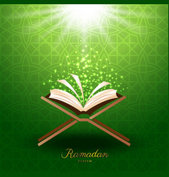 Muslim quran with magic light for ramadan of islam vector