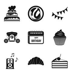 Natal day icons set simple style vector