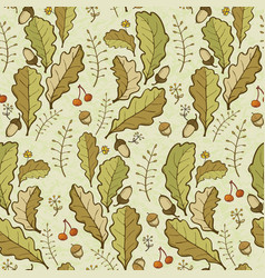 Oak leaves and acorns background vector