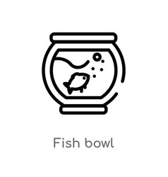 outline fish bowl icon isolated black simple line vector image