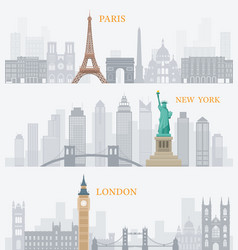 paris new york london landmarks vector image