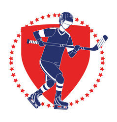 Player hockey emblem vector
