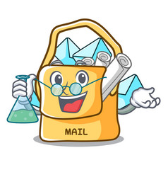 Professor the bag with shape mail cartoon vector