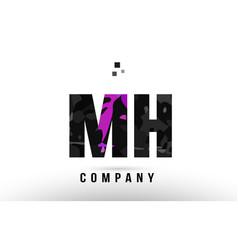Purple black alphabet letter mh m h logo vector
