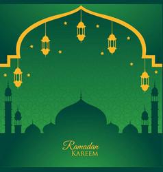 Ramadan kareem greeting card green background vector