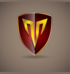red letter t crest shield emblem logo alphabet vector image