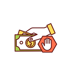 Risk for paying in cash rgb color icon vector