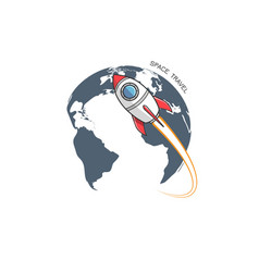 rocket and earth logo vector image