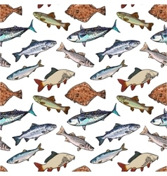 Seamless pattern of sketch style sea fish vector