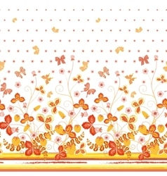 Seamless spring white floral pattern with orange vector