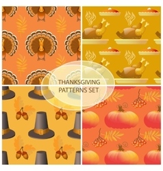 Seamless Thanksgiving day pattern with pumpkins vector