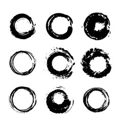 set abstract hand drawn painted black paint vector image