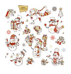 set of cute snowmen vector image