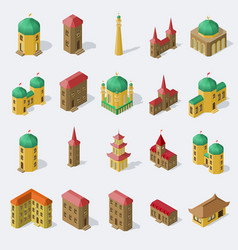 set of isolated public buildings in isometric vector image