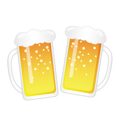 set of two mugs of beer isolated on a white bkg vector image