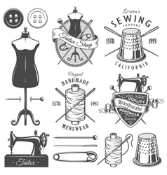 Set of vintage monochrome tailor tools and emblems vector image
