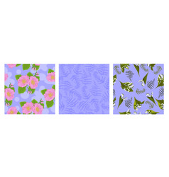 set seamless patterns with flowers and leaves vector image
