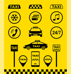 Set taxi icons on yellow background vector