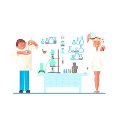 set with young scientist vector image