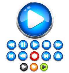 Shiny eps10 audio buttons play button stop rec vector