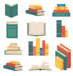 stack books in flat design collection vector image