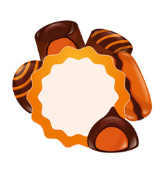 sweet candies label macaron bonbon stuffed vector image